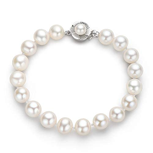 Pulseras de perlas de agua dulce cultivadas pulsera de perlas blancas con cierre de plata regalo de joyería para mujeres niñas hija
