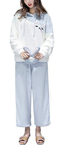 JUN MU パジャマ レディース 長袖フランネルルームウェア 上下セット+ヘアバンド 、部屋着 保温 厚手 着心地 寝間着 裏起毛 冬 柔らか ふわふわ 暖かい グレー、ブルー(M、L、XL) (グレー, M)