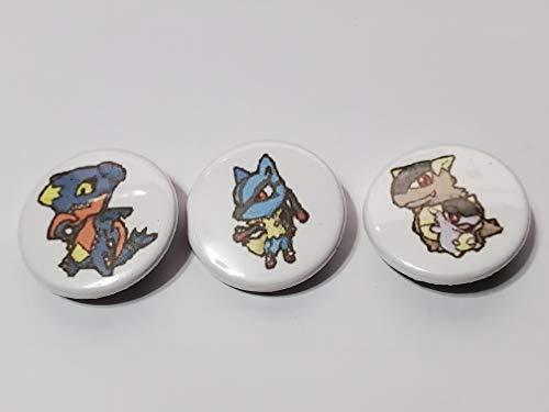 Custom 1' inch Buttons - Mega Garchomp, Mega Lucario, and Mega Kangaskhan Set - Custom Made - Pin Back - Gift Party Favor Vmax GX EX