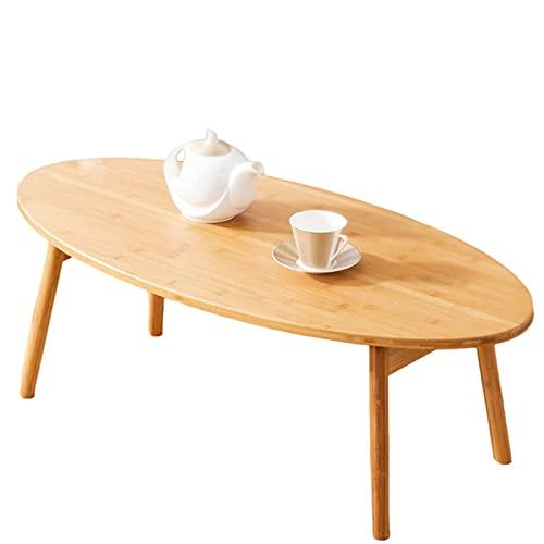 Mesa auxiliar para sala de estar, mesa de centro de madera ovalada, mesa de comedor, mesa de té, mesa auxiliar baja, escritorio de estudio y lectura, mesa de ocio (tamaño: 100 x 50 x 34 cm)
