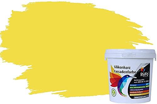 RyFo Colors Silikonharz Fassadenfarbe Lotuseffekt Trend Zitrusgelb 1l - bunte Fassadenfarbe, weitere Gelb Farbtöne und Größen erhältlich, Deckkraft Klasse 1
