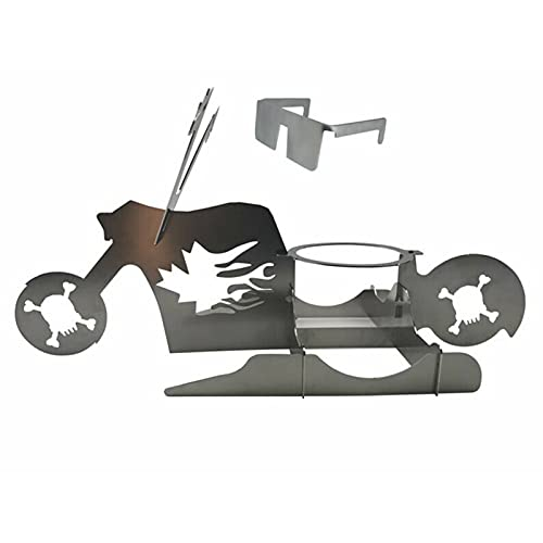 Syfinee Beer Can Chicken Holder for Grill, Portable Chicken Stand Beer American Motorcycle BBQ Stainless Steel Rack with Glasses Indoor Outdoor Use