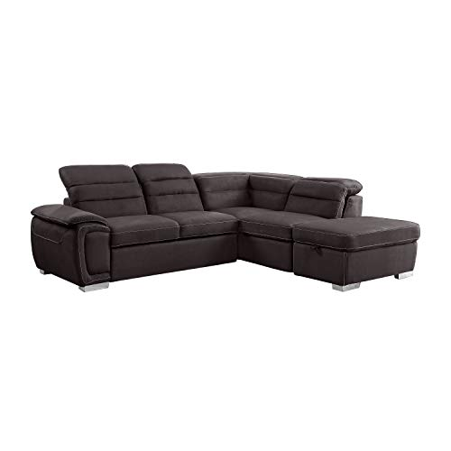 Homelegance Platina 103' Sectional Sofa with Pull Out Bed and Ottoman, Chocolate Fabric