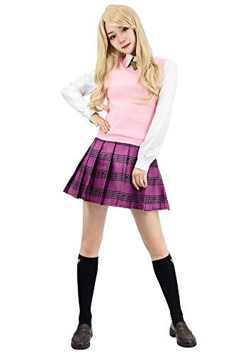 DAZCOS Womens Kaede Akamatsu Cosplay Costume with Socks (Small) Pink