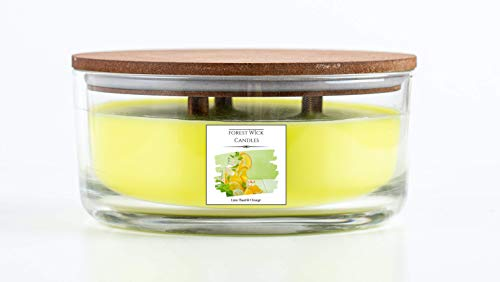 Forest Wick - Large Round Scented Soy Candle with Three Crackling Wicks   Up to 40 Hours Burn Time - In glass Jar with Lid. Beautiful gift candle set or candle for your home. (Lime Basil & Orange)