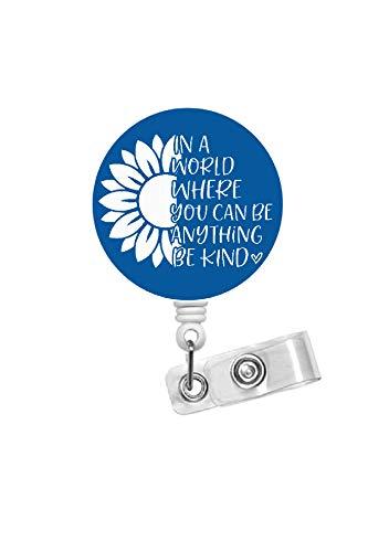 Sunflower Be Kind Badge Reel - Counselor Badge Holder - MSW Badge Reel - Nurse ID Badge - Social Worker ID Badge Holder - Nurse Practitioner - Teacher ID (Belt Slide Clip)