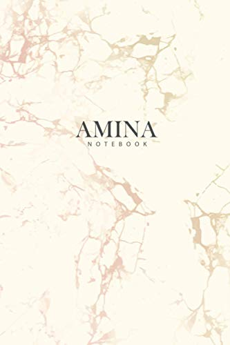 AMINA : Personal Marble AMINA Notebook / Journal: Diary Notebook / Lined Notebook / Journal Gift, 120 Pages, 6x9, Soft Cover, Matte Finish
