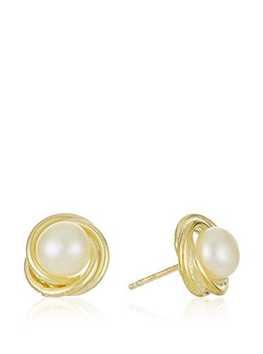 Córdoba Jewels   Pendientes en plata de Ley 925. Diseño Nudo Marinero Perla Oro