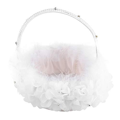 Kuuleyn Cesta de Flores para Bodas, Pluma Blanca con Encaje, Cesta Nupcial de niña de Las Flores para decoración de Fiesta de Ceremonia de Boda romántica