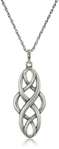 Oxidized Sterling Silver Celtic Knot Pendant Necklace, Gray, 18 Inch