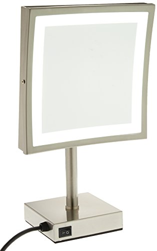 GURUN Square Tabletop Clear Makeup Mirrors with LED Lighted,3X Magnification,8.5 inch, Nickel M2205DN(8.5in,3X)