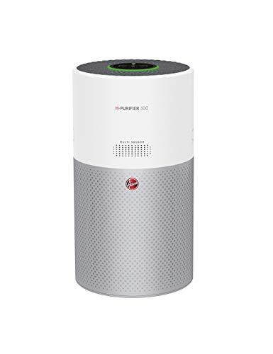 Hoover H-PURIFIER 300 - HHP30C - Purificador aire inteligente, Multisensores, Wi-Fi, Alexa y Google Home, Filtro triple capa (hepa), Inactivación polen, Alertas CO, CADR 290m3/h, Silencioso, Blanco