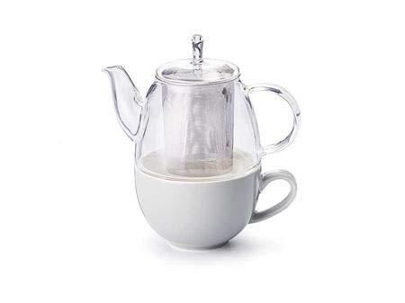 Cha Cult Tea for one Set Elin, grau 3-teilig, Glaskanne mit Edelstahlfilter und Porzellanfilter Kanne: 0,5 l/Tasse: 0,25 l