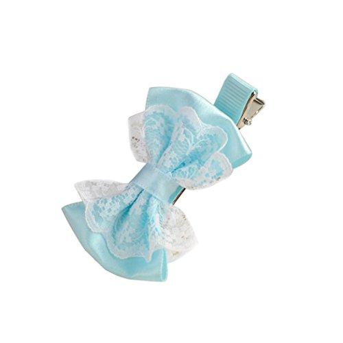Enfant Pince à Cheveux Dentelle Noeud Diver Motifs Clips Cheveux Barettes Pour Bébé Fille (bleu clair)