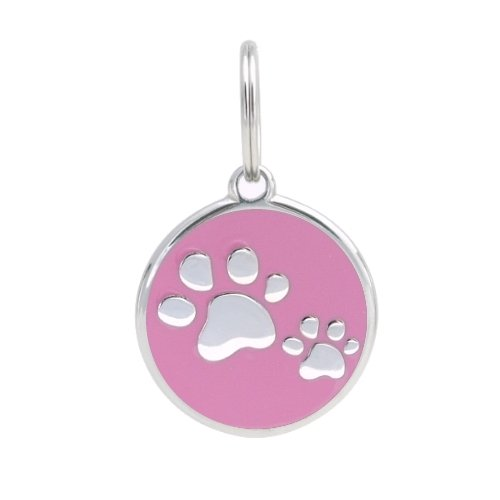 PetTouchID - Smart Dog ID Tags, QR Code, Online Pet Page, GPS Location (Paws (Pink), Regular (30mm))