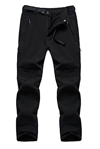 FunnySun Men's Snow Pants Outdoor Water Repellent Windproof Fleece Hiking Ski Cargo Pants US9917M Black L