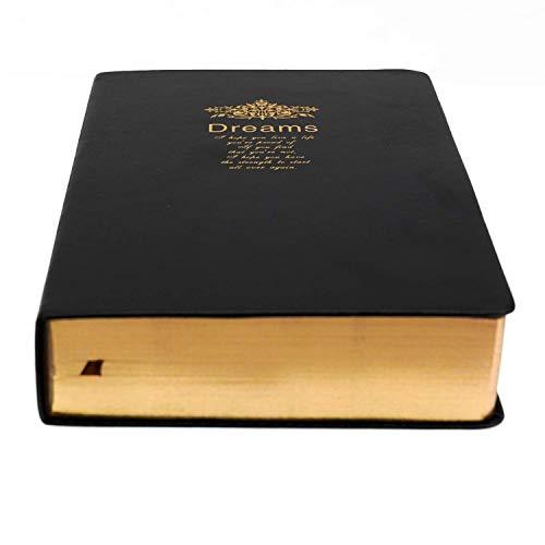 Dickes Retro-Notizbuch, blanko Papier mit goldenem Rand, schwarzer weicher Kunstleder-Einband, 416 Seiten, 208 Blatt A5 Skizzenbuch zum Schreiben Zeichnen