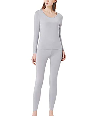 SANQIANG Women's Cotton Lace Crew Neck Thermal Underwear Set Lightweight Long Johns for Women (US Size L (Tag Reads 2XL), Modal- Grey)