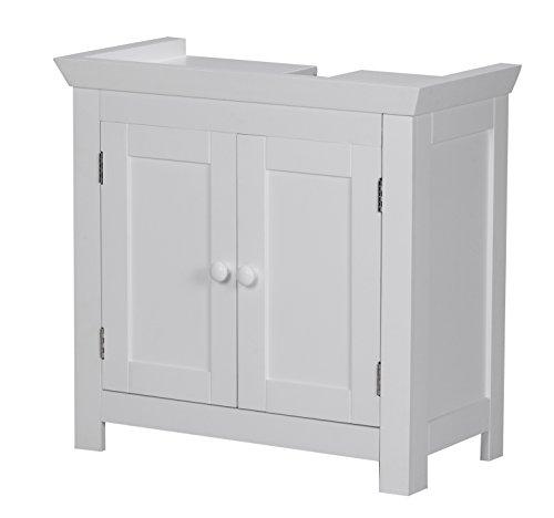 Wohnling wastafelmeubel Mila hout, 57 x 30 x 55 cm, badkamerrek met sifonuitsparing, badkamer plank staand met 2 deuren, wastafelonderkast vrijstaand, wit
