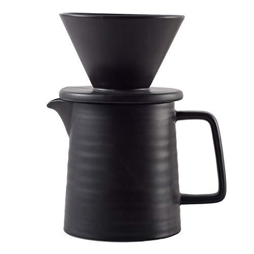 Pour Over Coffee Maker Set, Premium Black Ceramic V60 Dripper & Decanter, 1-2 Cup Home Filter Coffee Maker