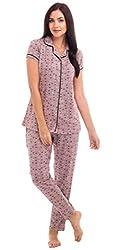 ZEYO Womens Cotton Purple & Yellow Star & Heart Print Stylish Night Suit