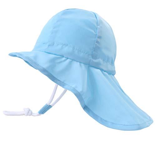 YONKINY Baby Sonnenhut Unisex Atmungsaktiver Sommer Strand Sommerhut UV Schutz Kleinkind Fisherhut mit Nackenschutz Sommermütze (Hellblau, Größe 50 für 2-3 Jahre)
