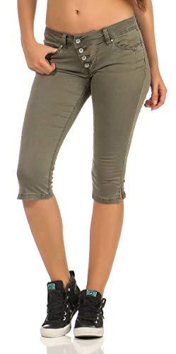 Buena Vista Damen Sommer Jeans Malibu Capri Stretch Twill Kurze Hose Knopfleiste Khaki M