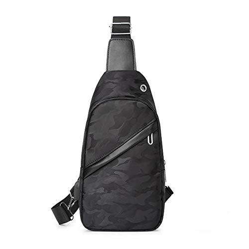 Men's Chest Bag Water-Repellent Shoulder Bag Sling Crossbody Bag Outdoor Sport Bag with USB Charging Port,Black