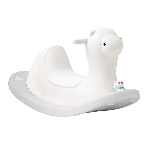 NXYJD Children Lovely Rocking Horse Baby Indoor Playground Plastic Rocking Chair Kids Ride on Animal Toys (Color : White)