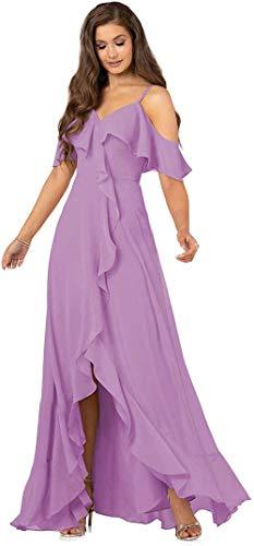 AKHOKA Women's Slit Bridesmaid Dresses Off Shoulder Hi Low Formal Prom Party...