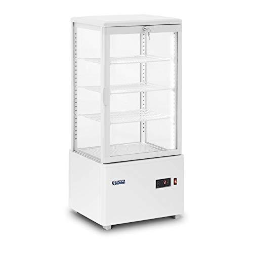 Royal Catering Vitrina Refrigerada Para Hostelería RCCC-78-W (Capacidad: 78 L, Temperatura: 2-10 °C, Blanca, Con 4 niveles y cerradura)
