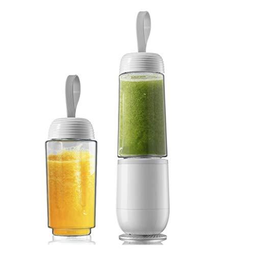 RJJX Home Presse-Agrumes Accueil Cuisine 300 ML Double Cup Mini Juicer Accueil Portable Mixer de légumes et de Fruits Convient for Voyage 2 Couleur en Option (Color : White)