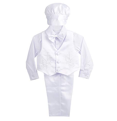 Lito Angels Baby Satin Taufe Tauf-Outfit Lange Ärmel Hochzeitsanzug mit Motorhaube 5 Stück Set Weiß 12-18 Monate D