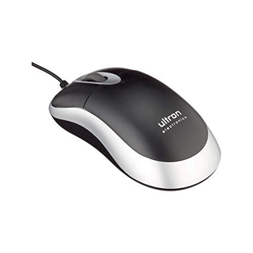 Preisvergleich Produktbild Ultron UM-100 Maus mit Kabel,  PS2 Anschluss,  800 DPI Optischer Sensor,  3 Tasten,  Scrollrad,  Für Links- und Rechtshänder,  PC / Mac schwarz silber