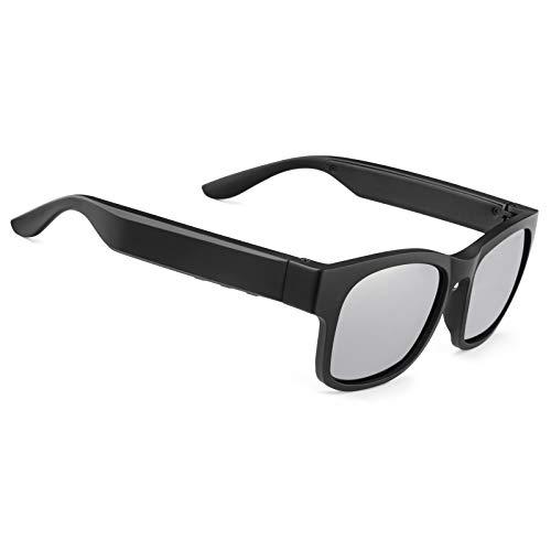Gafas de sol inteligentes de audio polarizadas UV400 con oído abierto Bluetooth, para escuchar música, hacer llamadas telefónicas (A12Pro-Silver)