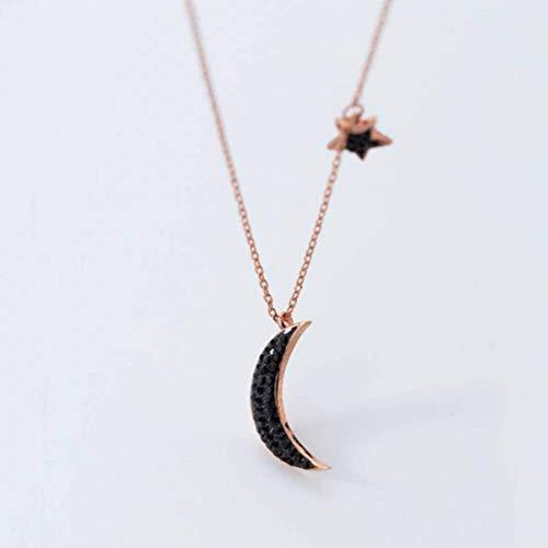 Good dress S925 Silber Halskette Anhänger Sunshine Fashion Classic Black Diamond Moon Anhänger Temperament Stern Schlüsselbein Kette, S925 Silberkette, Wie Gezeigt