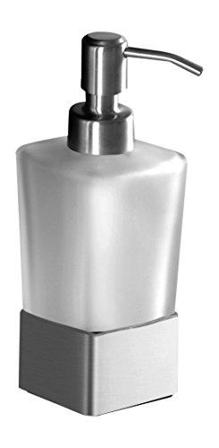 Ambrosya® | Exklusiver Seifenspender aus Edelstahl | Bad Badezimmer Glas Halter Halterung Seife Seifenhalter Seifenhalterung Seifenschale Spender Toilette WC (Edelstahl (Gebürstet))