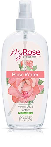 Rose Water spray per viso e corpo con olio di rosa damascena – rinfresca, Moisturizes & Soothes 220 ml
