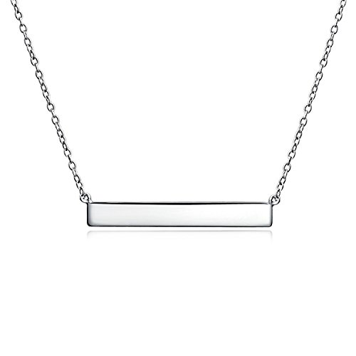Bling Jewelry Thin Name Plate Style Engravable Sideways Diagonal Flat Bar Pendant Necklace for Women Or Teen 925 Sterling Silver
