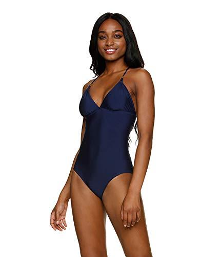 Helen Jon Women's Adjustable Lace Back One Piece Swimsuit Navy