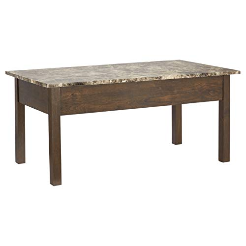 ROCKPOINT Living Faux Marble Lift Top Coffee Table, Brown
