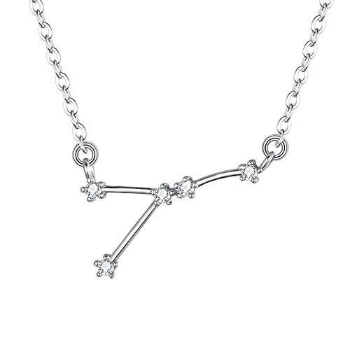 Clearine Halskette Sternzeichen 925 Sterling Silber CZ- Krebs Sternbild 12 Horoskop Astrologie Anhänger Kette klar für Damen Mädschen