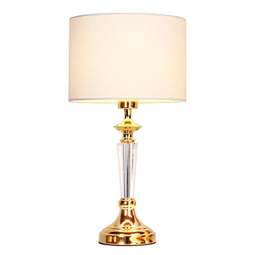 Europäische Luxus-Kristall Tischlampe SYAODU Schlafzimmer Nachttischlampe, Mode kreative Dekoration Wohnzimmer Hotel Beleuchtung (Gold)