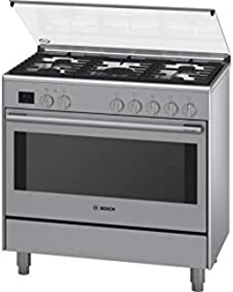 Bosch 90X60 cm Top Gas and Electric Oven Free Standing Cooker, HSB738357M, 1 Year Warranty