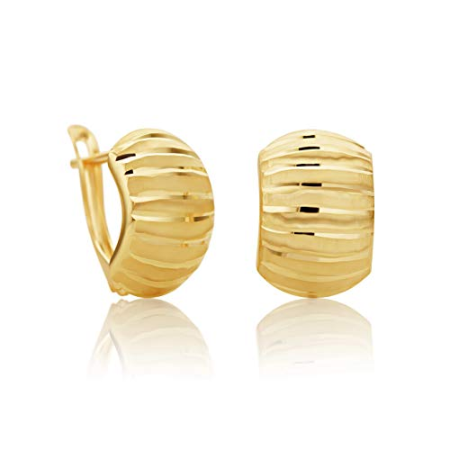 14 Karat 585 Gold Ohrringe Creolen Gelbgold Glänzend Ohrschmuck – SIT22