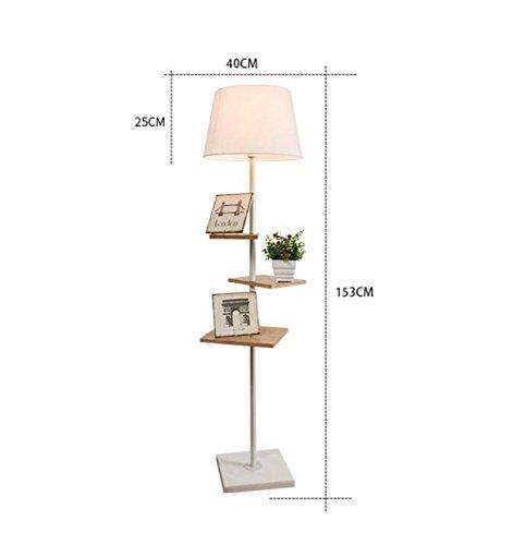 Wvfguj Lámparas de pie Los estantes de madera Lámpara de pie con pie, luz, lámpara de lectura moderna for el dormitorio, sala de estar, oficina, decoración casera creativa personalizada minimalista lá
