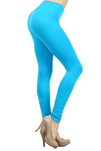 NeonNation Leggings sin costuras de colores o pantalones deportivos traje de fiesta medias calidad para mujer Un tamaño Turquesa