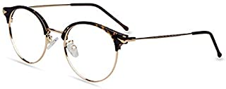 Firmoo Round Vintage Half-Rim Non-Prescription Computer Glasses, Blue Light Blocking Lenses for Men/Women(Tortoise)
