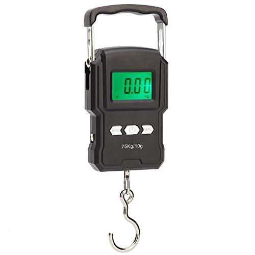 Fishing Scale, Rhorawill 165lb / 75kg Hängewaage Gepäckwaage Digitale Kofferwaage Fischwaagen mit Maßband, Tragetasche, Batterien, Beleuchtetes Display, Thermometer für Reisen/Familienleben
