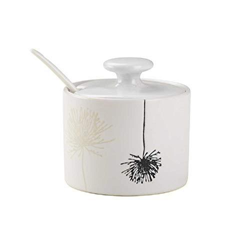XU-Storage Handgemachte Keramik Haushalt Aroma Glas Mit Abdeckung Löffel Kreative Gewürz Glas Küche Salz Zucker Glas Löwenzahn A
